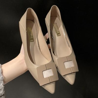 KEITH-WILL時尚鞋館 韓國設計方扣尖頭細跟鞋-杏