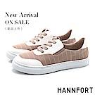 HANNFORT CAMPUS 條紋帆布休閒鞋-女-粉紅
