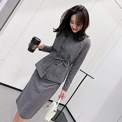 DABI 韓系女神馬甲長袖針織套裝長袖裙裝