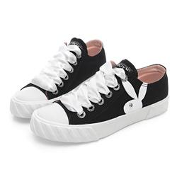 PLAYBOY 潮流簡約帆布餅乾鞋-黑-Y5212CC