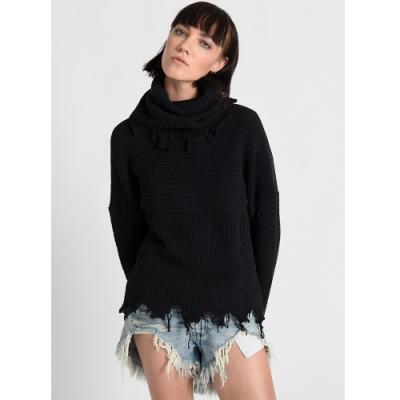 OneTeaspoon 針織上衣 DESTROYED ROLL SWTR-黑(女)