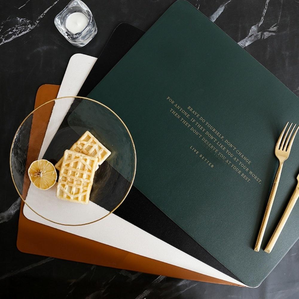 BUNNY LIFE 北歐簡約方形皮革西餐墊 (4色)