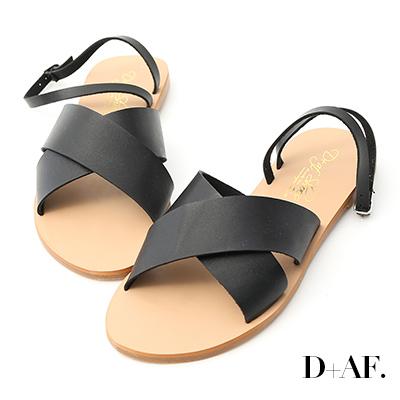 D+AF 自在完美.交叉寬帶繞踝平底涼鞋*黑