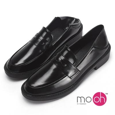 mo.oh工作鞋亮面踩腳兩穿樂福鞋黑