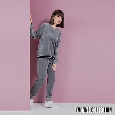 YVONNE剪毛布圓領拼接上衣- 淺藍
