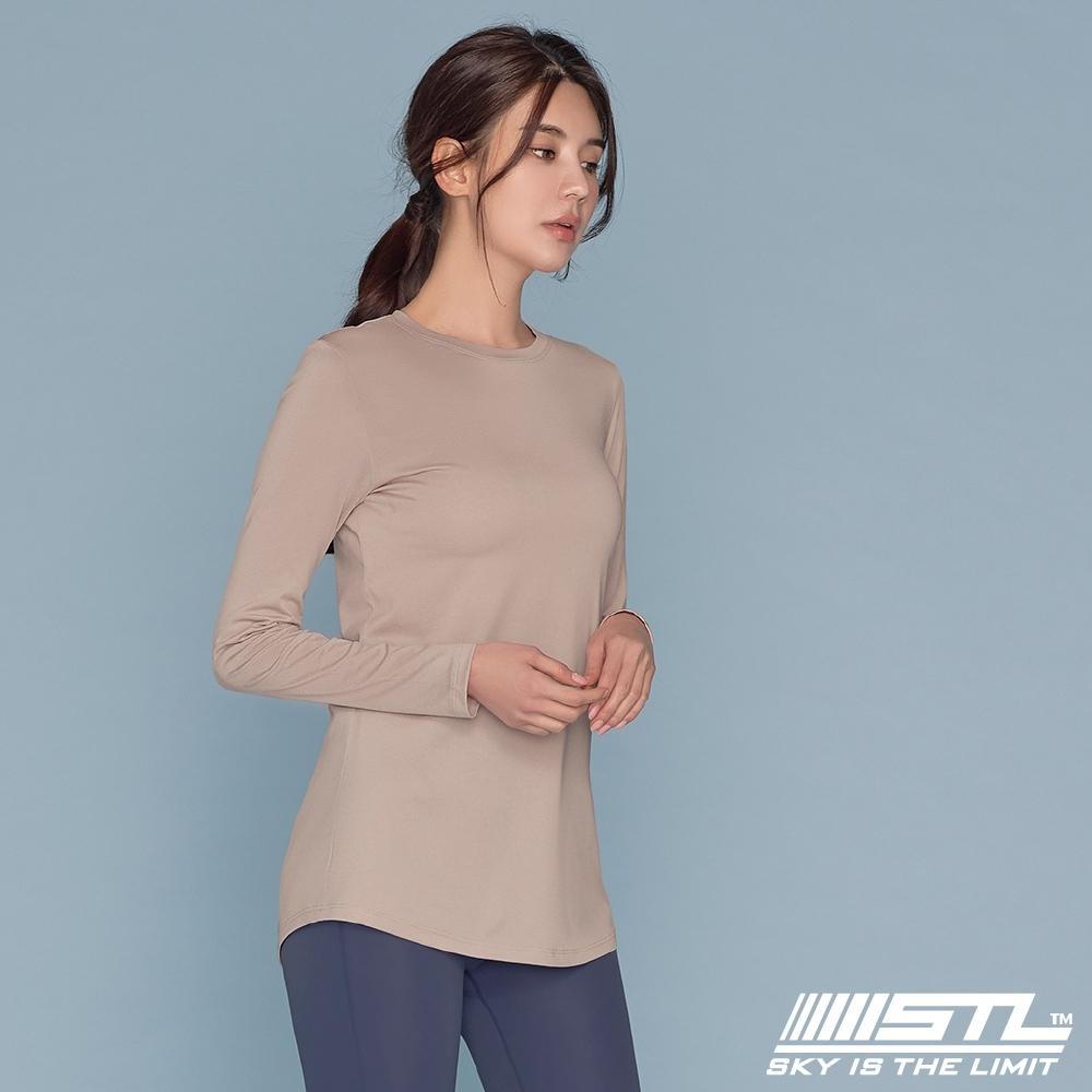 STL yoga ESSENCE LS 韓國瑜珈 運動機能 本質長版 合身蓋臀長袖上衣 奶茶白