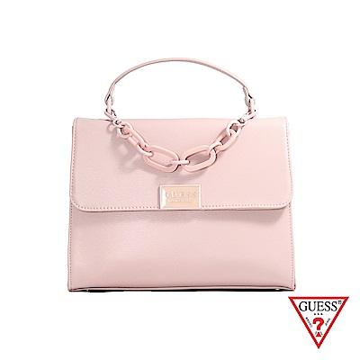 GUESS-女包-純色簡約粗鍊條手提肩背包-粉 原價3290