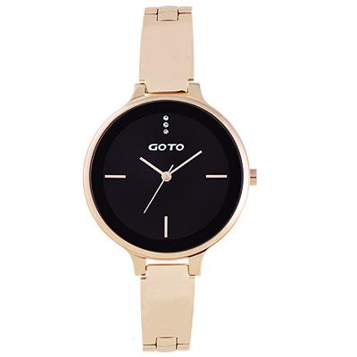 GOTO奢華簡約070系列時尚手錶-玫x黑/39mm