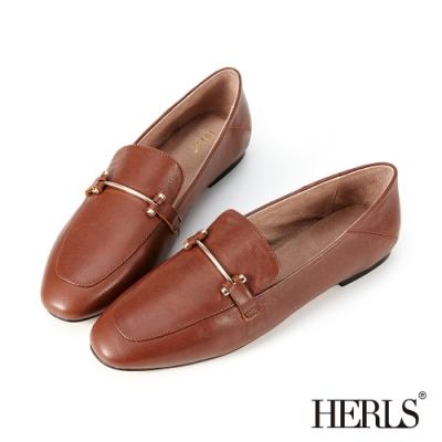 HERLS樂福鞋-全真皮兩穿一字釦環平底鞋樂福鞋-咖啡色