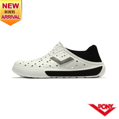 【PONY】ENJOY洞洞鞋 踩後跟 雨鞋 水鞋 中性款-基本色/白黑