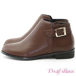 D+AF 定番Style.簡約後釦環及踝短靴*咖