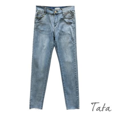 刷色不收邊彈力牛仔褲 TATA-(S~L)