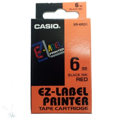 CASIO 標籤機專用色帶-6mm【共有<b>5</b>色】紅底黑字XR-6RD1