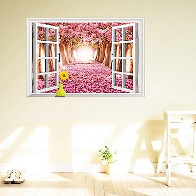 半島良品 DIY無痕壁貼-假窗浪漫櫻花 AY9234D 60x90cm