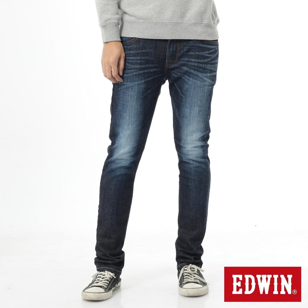 EDWIN EDGE LINE 大尺碼 雙層斜袋 窄直筒牛仔褲-男-原藍磨
