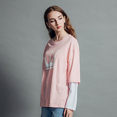DADA SUPREME 皇冠八分袖運動假兩件上衣-女款-粉紅