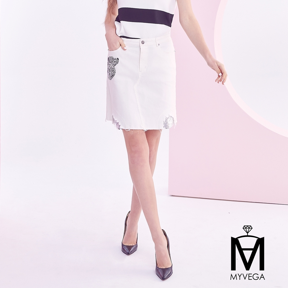 麥雪爾 MA動物刺繡亮片鑲白牛仔裙