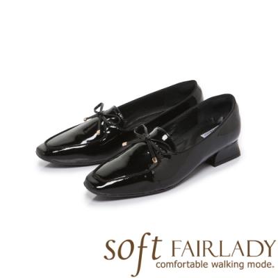 FAIR LADY Soft芯太軟蝴蝶結漆皮方頭樂福鞋 漆黑