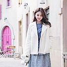 質感仿貂絨造型反褶袖暖感外套-OB大尺碼