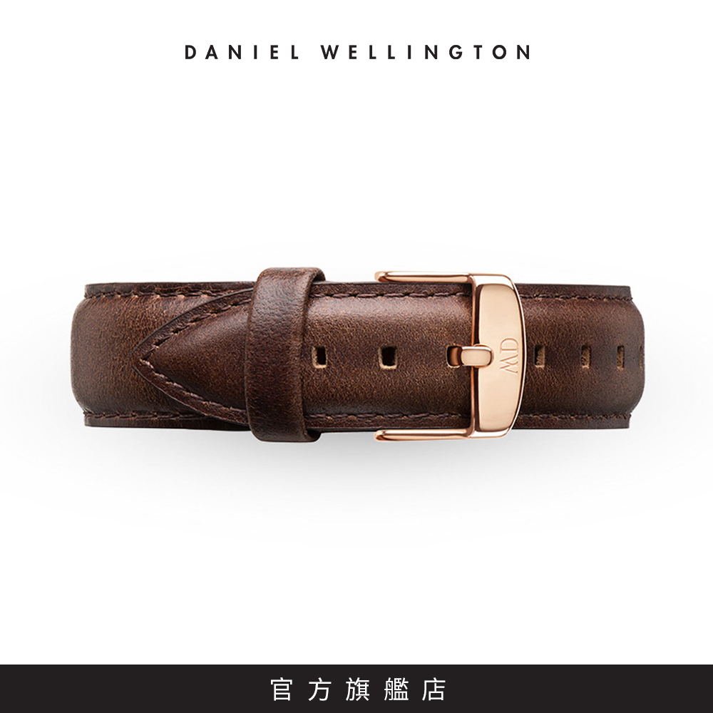 DW 錶帶 20mm金扣 深棕真皮皮革錶帶