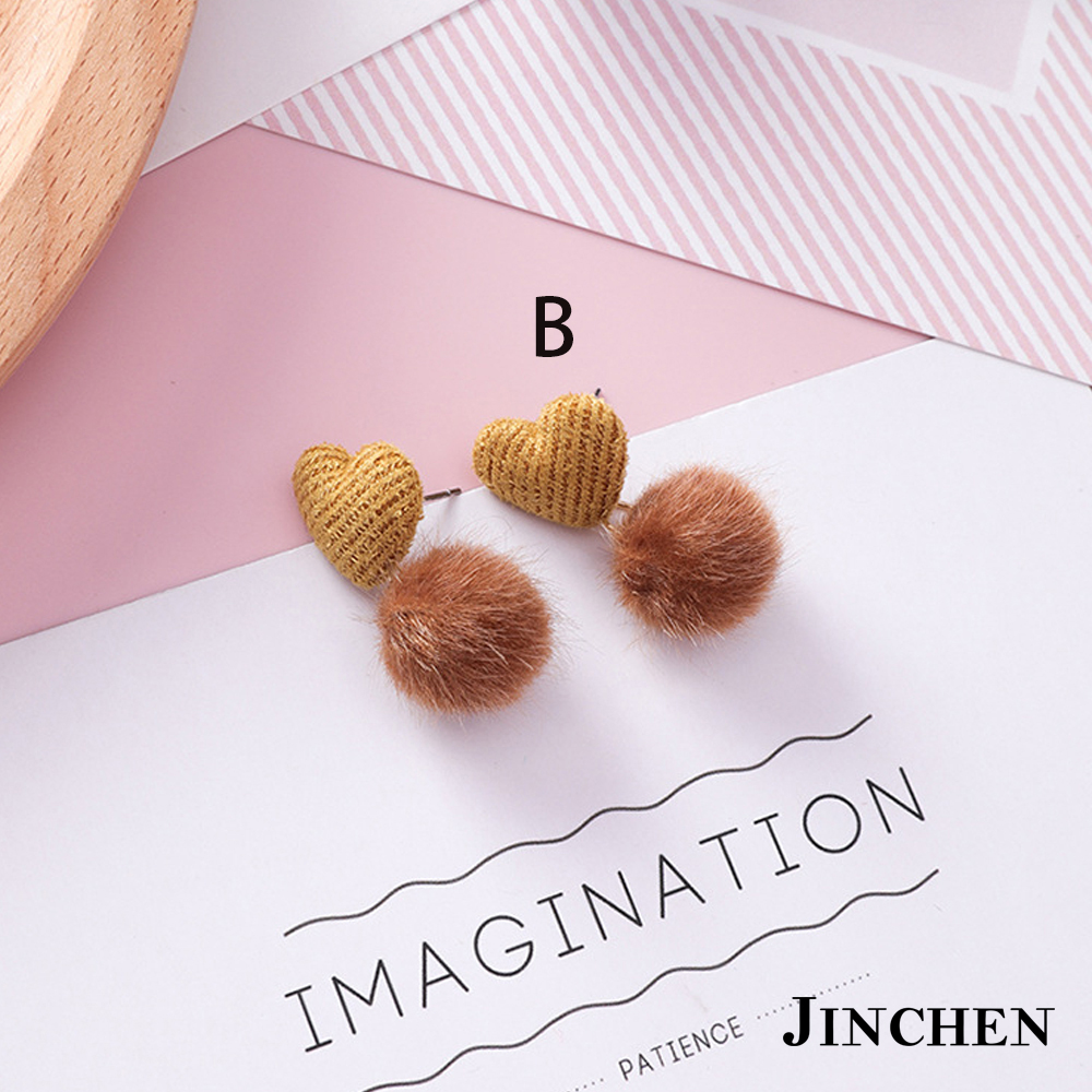 JINCHEN 合金多款毛球耳環 product image 1