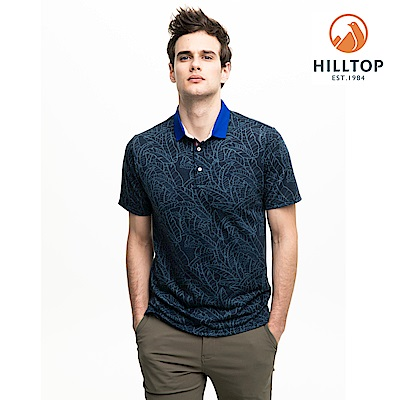 【hilltop山頂鳥】男款吸濕快乾抗菌彈性POLO衫S14MG6藍印花