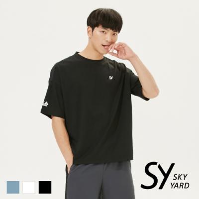 【SKY YARD 天空花園】休閒寬版圓領T恤-黑色