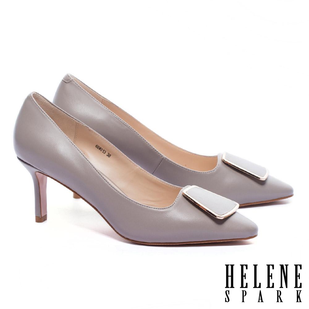 高跟鞋 HELENE SPARK 都市典雅金邊釦尖頭羊皮尖頭高跟鞋-可可