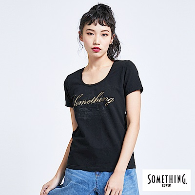 SOMETHING 巴黎左岸街景 短袖T恤-女-黑色