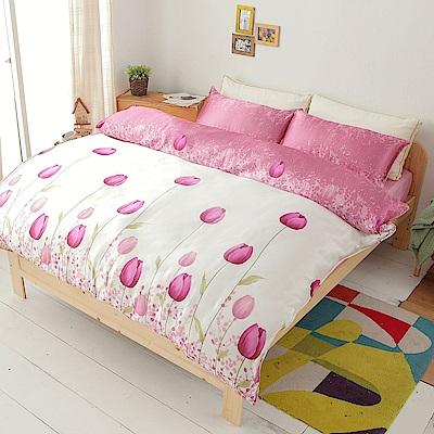 愛的童話  絲緞加大四件式鋪棉兩用被床包組