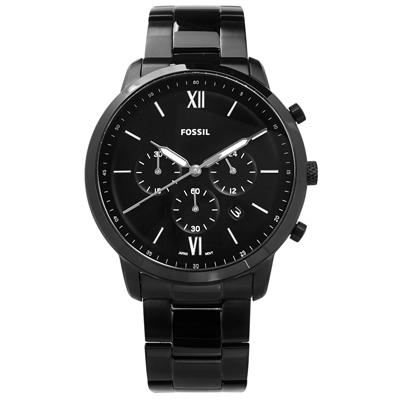 FOSSIL 酷黑三眼 礦石強化玻璃 日期 日本機芯 不鏽鋼手錶-黑/44mm