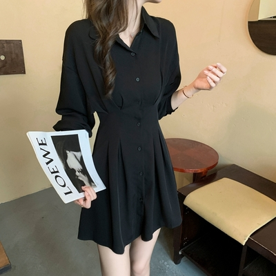 玩美衣櫃知性落肩襯衫式抓褶收腰短洋裝S-XL(共二色)-Dorri
