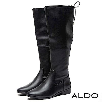 ALDO 原色黑內拉鍊式蝴蝶綁帶筒圍木紋粗跟長靴~尊爵黑色