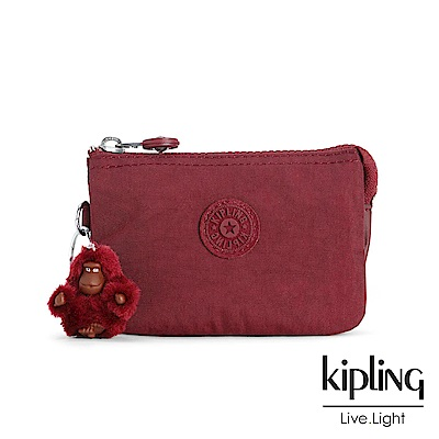 Kipling 零錢包 胭脂酒紅素面-小