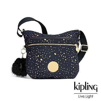 Kipling 夜黑潑墨星點前拉鍊側背包-ARTO