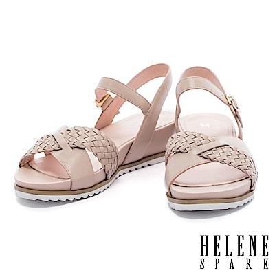 涼鞋 HELENE SPARK 度假編織條交叉字帶牛皮楔型高跟涼鞋-米