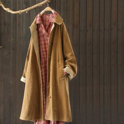 隨心兩面穿純棉燈芯絨後開叉風衣中長版寬鬆外套-設計所在