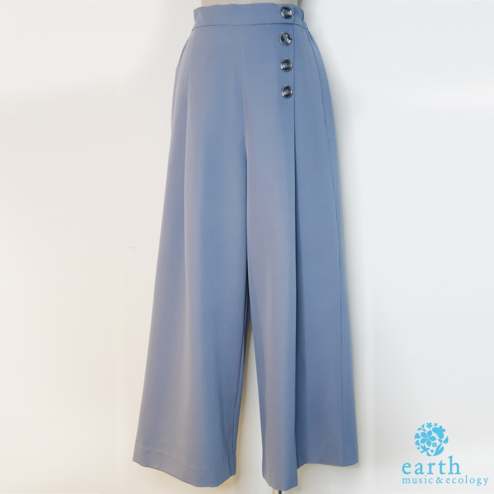 earth music 排釦雪紡寬褲