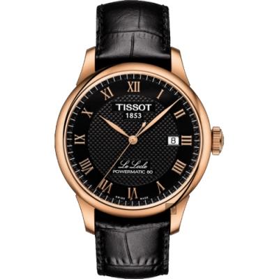 TISSOT天梭 Le Locle 80小時機械錶-黑x玫塊金框/ 39mm T0064073605300