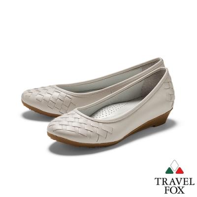 TRAVEL FOX(女) 蜜糖 牛皮淺口編織低跟淑女休閒鞋 - 米白