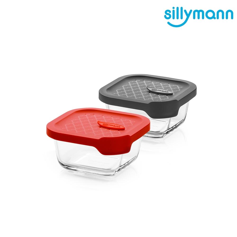 【韓國sillymann】 100%鉑金矽膠微波烤箱輕量玻璃保鮮盒(正方型300ml)