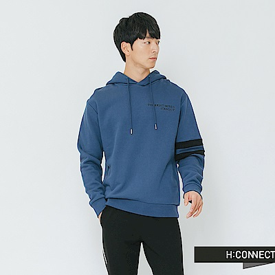 H:CONNECT 韓國品牌 男裝-電繡文字質感抽繩帽T-藍