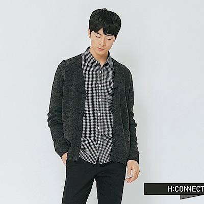 H:CONNECT 韓國品牌 男裝-雙色拼接排釦針織外套-棕色