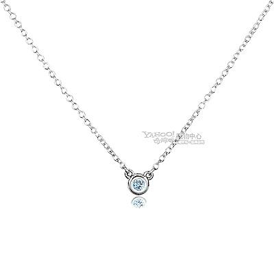 無卡分期6期TIFFANY&Co.0.06克拉圓形海藍寶石純銀項鍊