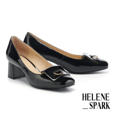 高跟鞋 HELENE SPARK 內斂知性金屬小圓釦方頭高跟鞋-黑