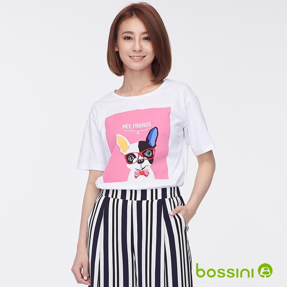 bossini女裝-圓領五分袖印花上衣01白