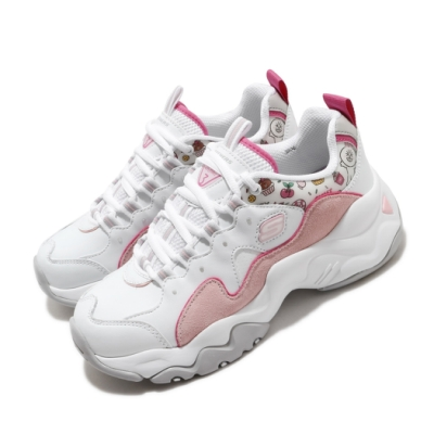 Skechers 休閒鞋 D LITES 3 老爹鞋 女鞋 厚底 增高 兔兔 Line Friend 白 粉 66666255WPK