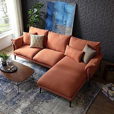hoi! 輕奢現代可拆洗北歐L型布沙發(附抱枕)RAG1K-桐潭棕 (H014215974)