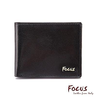 FOCUS原皮時尚黑8卡簡約左右掀男短夾(FGB2205)