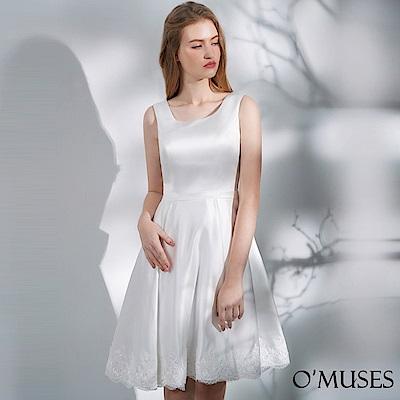 OMUSES 簡約蝴蝶結刺繡裙襬伴娘短禮服
